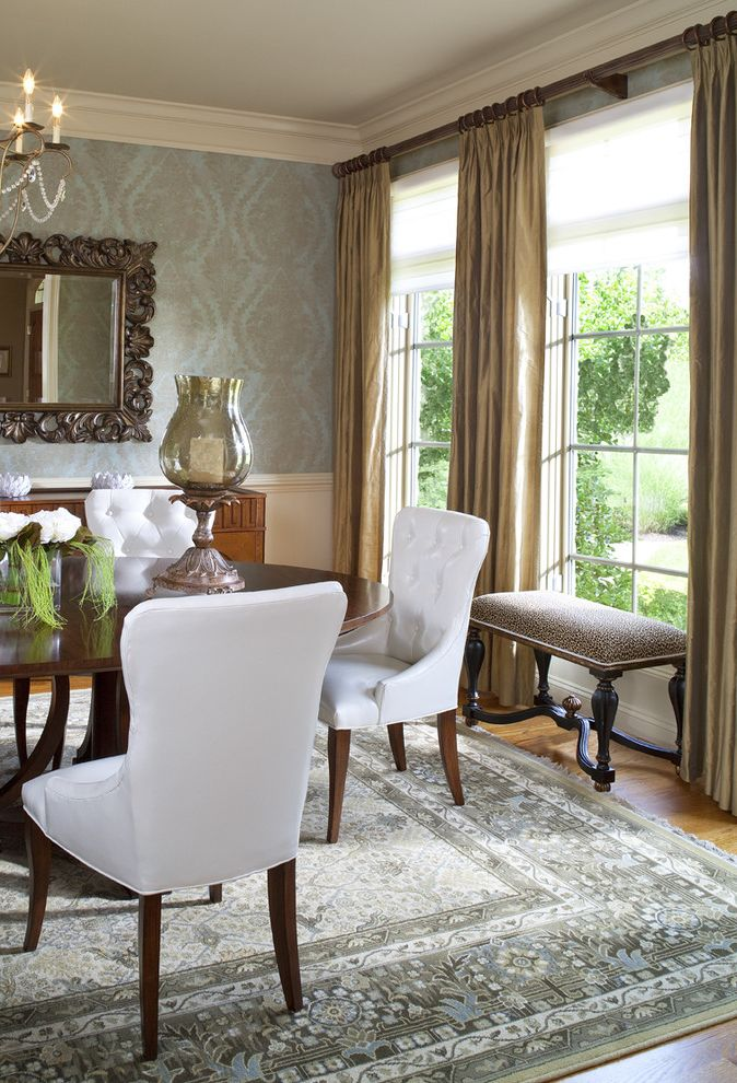 Costco Drapes   Traditional Dining Room  and Bench French Window Mirror Round Table Upholstered Chair Wainscoting Wallpaper Window Treatment Wood Table