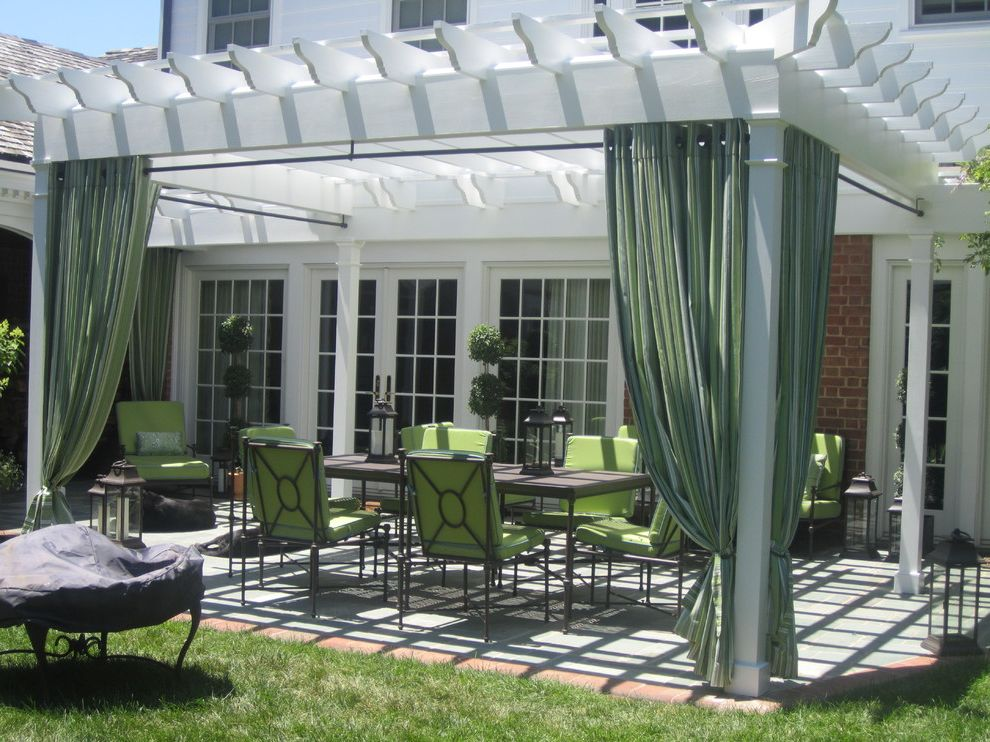 Costco Drapes with Contemporary Patio  and Flagstone Patio Sunbrella Cushions and Drapery Topiaries and Lanterns Tradional White Pergola Wrought Iron Furniture From Restoration
