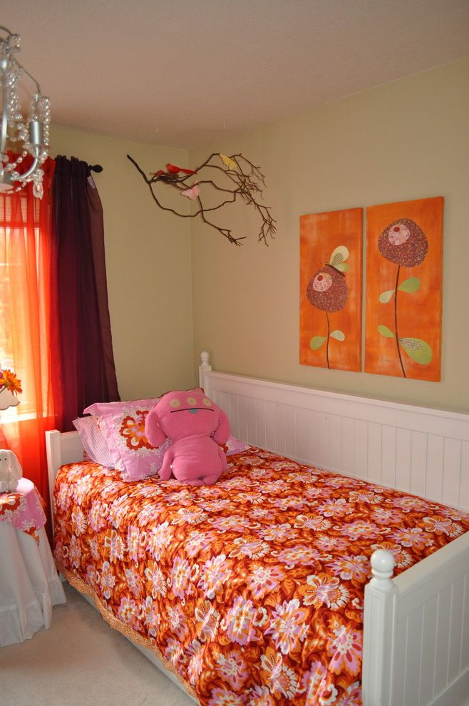 Costco Drapes with Eclectic Kids Also Bedroom Bold Colors Branch Bright Colors Curtains Day Bed Drapes Floral Bedding Hanging Mobile Twin Bed Uglydolls Wall Art Wall Decor White Bed Window Treatments