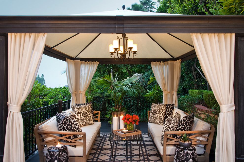 Costco Drapes with Transitional Patio  and Black Bold Prints Chandelier Curtain Panels Damask Iron Railing Pool Cabana Seat Cushions Settee Shades of Gray Shades of Grey Sunset Plaza Transitional White