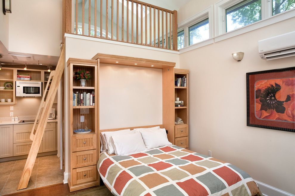 Costco Murphy Bed   Contemporary Bedroom  and Clerestory Windows Guest House Hardiplank Hide Away Bed House Kitchenette Ladder Loft Murphy Bed Passive Re Purposed Reclaimed Recycled Standing Seam Studio Triple Pane White Walls