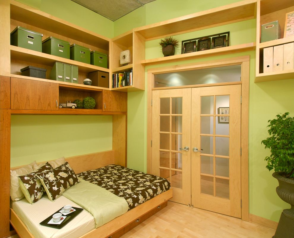 Costco Murphy Bed   Contemporary Home Office Also Built in Bookcase Custom Woodwork Fold Down Bed French Doors Green Murphy Bed Natural Wood Transom Wood Floor