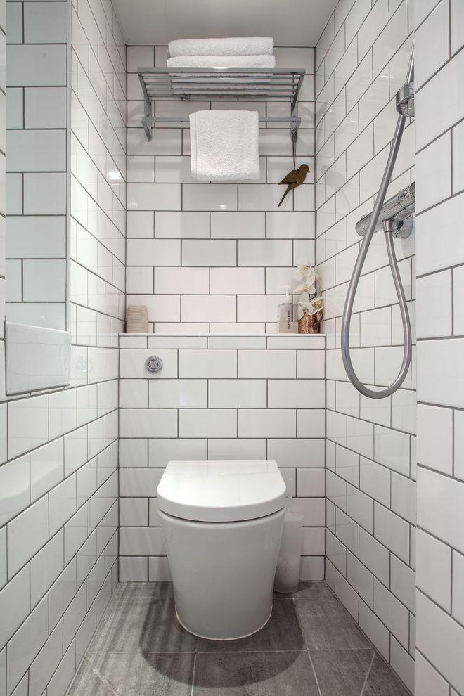 Costco One Piece Toilet   Transitional Bathroom  and Mini Bathroom Small Bathroom Design Tiled Bathroom Tiny Bathroom Toilet Towel Rack Wet Rooms White Bathroom White Metro Tile White Metro Tiles White Tiled Bathroom