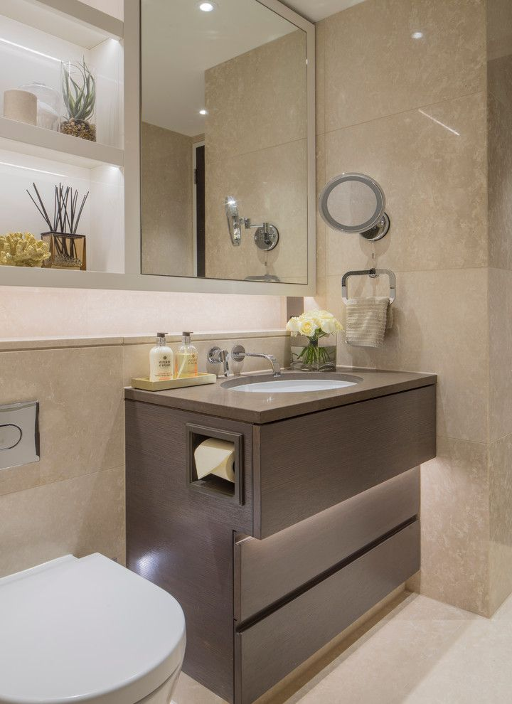 Costco One Piece Toilet with Contemporary Bathroom Also Built in Shelving Recessed Lighting Swing Arm Mirror Tiled Wall Towel Rck Wall Mirror