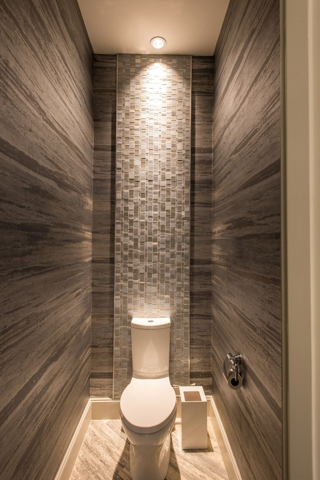 Costco One Piece Toilet with Contemporary Bathroom Also Dark Brown Wallpaper One Piece Toilet Tiled Bathroom Wall Wc White Trash Bin