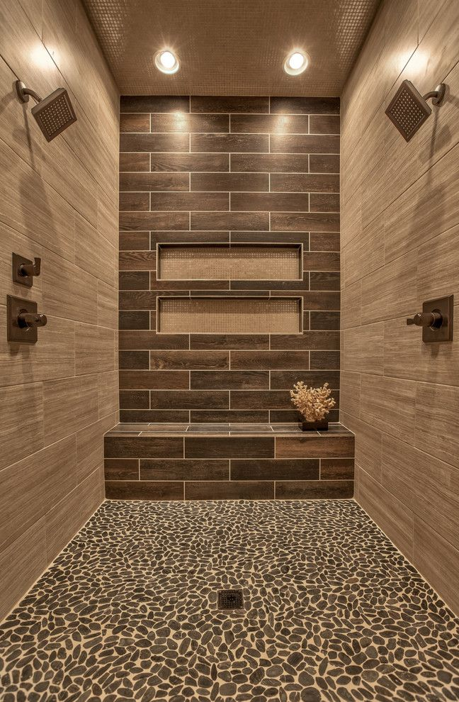 Costco Sauna with Transitional Bathroom Also Accent Wall Alcove Shower Brown Tile Mosaic Tile Ceiling Neutral Color Scheme Pebble Floor Tile Recessed Lighting Recessed Wall Niche Two Showerheads Walk in Shower