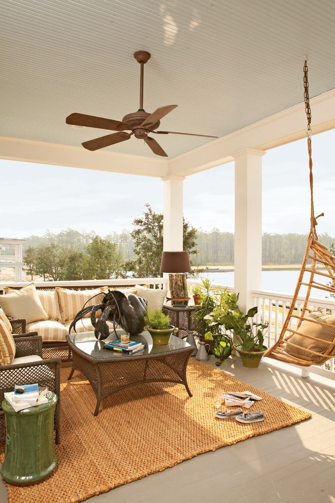 Cottage Style Ceiling Fans With Traditional Balcony And Beach House Fan Hanging Chair Sisal Rug Swing Tropical Wicker