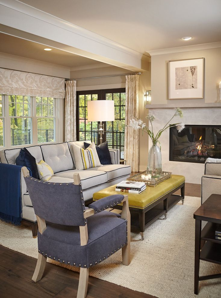 Couch with Studs   Traditional Living Room  and Black Trim Couch Blue Studded Chair Fireplace Glass Doors Leather Coffee Table Yellow Leather