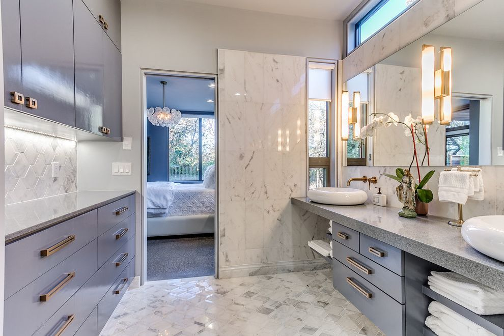 Countertops Okc   Contemporary Bathroom  and Castle Rock Gold Fixtures Granite Light Blue Cabinets Marble Marble Bathroom Marble Tile Master Bathroom Orchids Sliding Door Wall Sconce