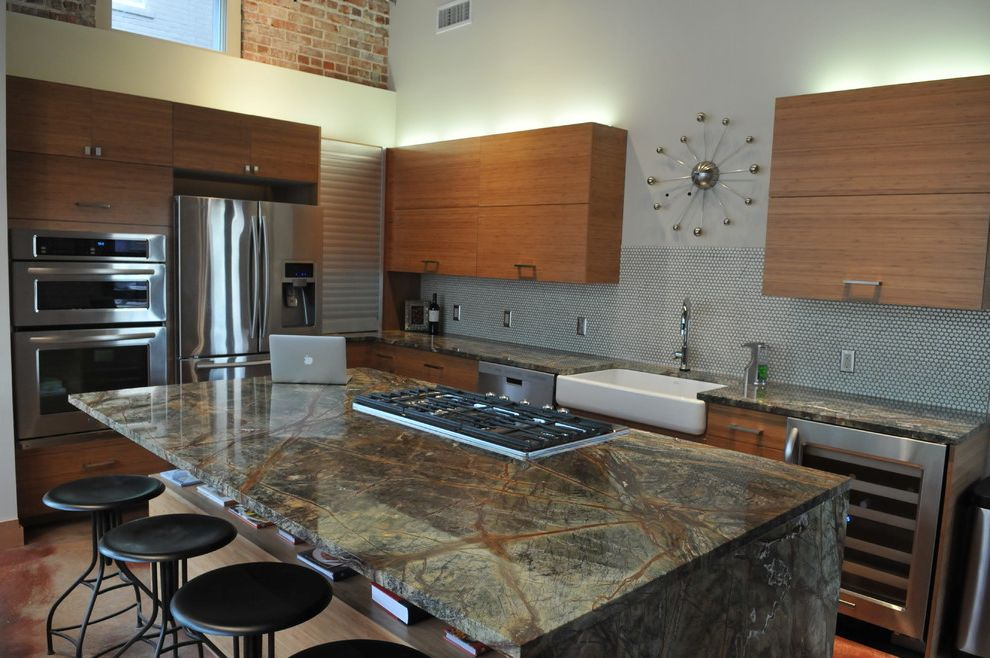 Countertops Okc   Contemporary Kitchen  and Bamboo Cabinets Contemporary Downtown Exposed Brick Gas Range High Gloss Counter Loft Modern Clock Penny Tile Rain Forest Granite Stainless Fridge Wall Clock White Sink Wine Fridge