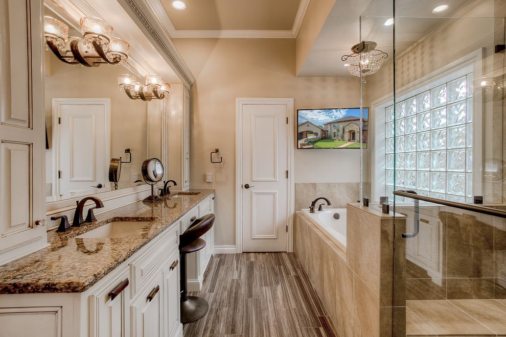 Countertops Okc   Traditional Bathroom Also Bath Tub Bathroom Bench Crystal Ceiling Light Egg and Dart Moulding Lighted Vanity Mirror Paints Stains and Glazes Vanity Stool Vintage Bathroom Sconces Wall Sconces