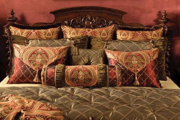 Coverlet Sets King   Traditional Bedroom  and Brush Trim Chenille Green Merlot Olive Red Tootsie