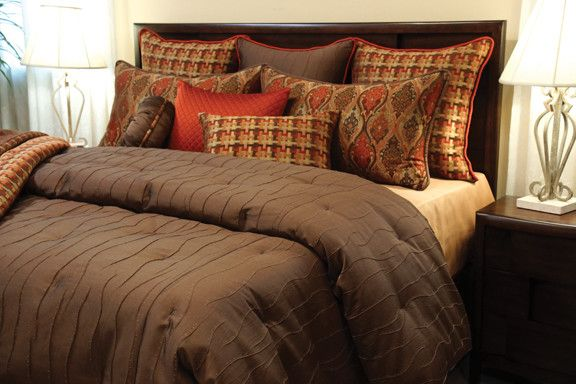 Coverlet Sets King with Contemporary Bedroom  and Brown Comforter Set Coverlet Coverlet Set High End Bedding Luxury Bedding Rust