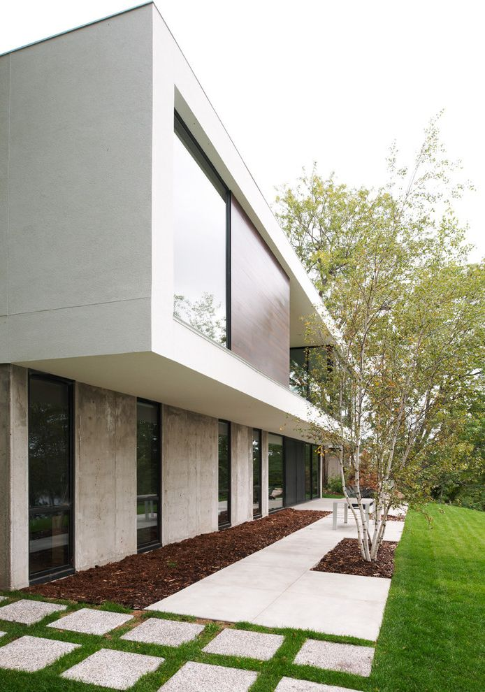 Craigs Mn   Modern Exterior Also Birch Trees Cantilever Concrete Flat Roof Grass Industrial Lawn Minimal Mulch Overhang Path Pavers Roof Line Specimen Tree Steps Turf Walkway