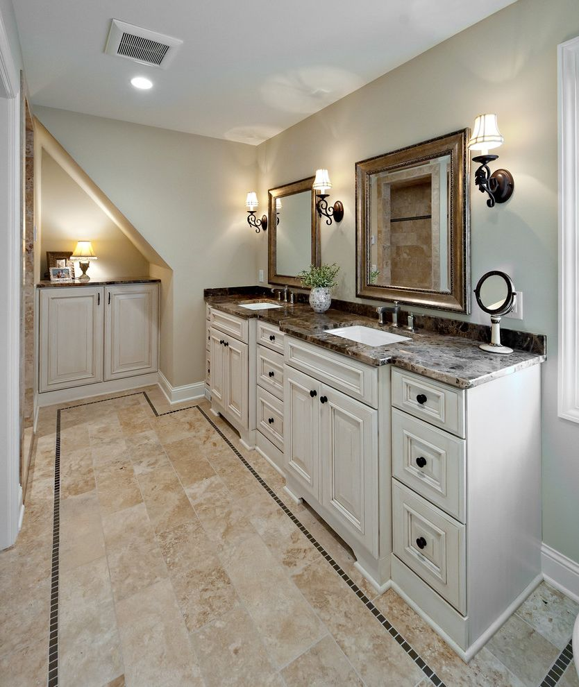 Craigs Mn   Traditional Bathroom  and Accent Tile Glass Tile Gold Mirror Marble Romantic Sconces Stone Countertop Tiled Floor Travertine Vanity Wall Mounted Light White Vanity