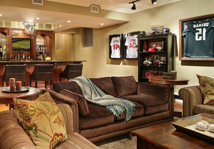 Craigs Mn with Eclectic Basement Also Built in Bar Custom Built Home Bar Leather Bar Stool Sports Memorabilia