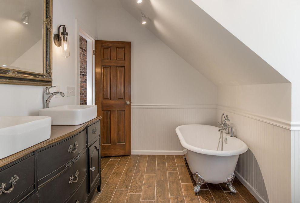 Craigslist Bathtubs   Eclectic Bathroom  and 3x6 Subway Tile Classic Clawfoot Tubs Dresser Vanity Furniture Vanity Gable Hex Tile White Bathroom