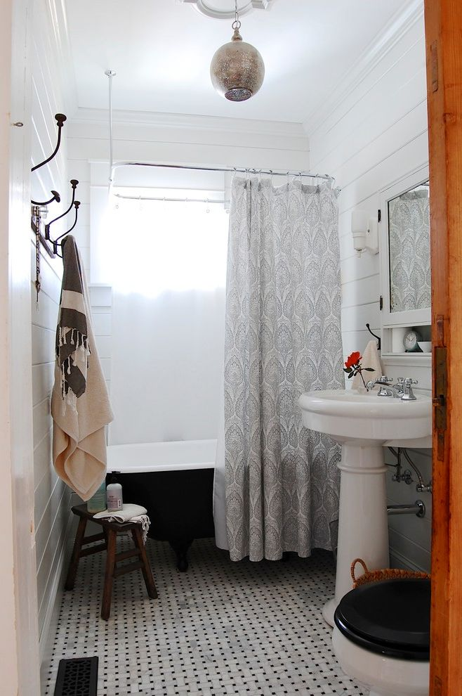 Craigslist Bathtubs   Eclectic Bathroom  and Asheville Basketweave Tile Floor Bathroom Flor Black Clawfoot Tub Clawfoot Tub Farm Door Modern My Houzz Striped Towels Tile Floor Tongue and Groove Vintage Hooks Vintage Storage Wall Hooks