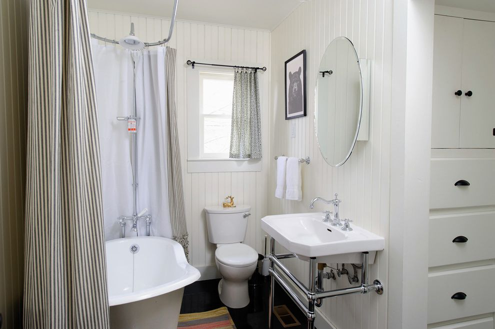 Craigslist Bathtubs   Eclectic Bathroom  and Bathroom Mirror Beadboard Built Ins Claw Foot Claw Foot Tub Cottage Dark Floors Freestanding Bathtub Simple Small Bathroom Soaking Tub Striped Shower Curtain Washstand White White Trim