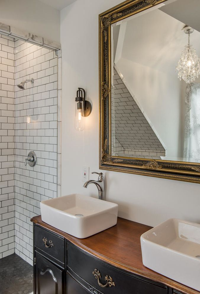 Craigslist Bathtubs with Eclectic Bathroom Also 3x6 Subway Tile Classic Clawfoot Tubs Dresser Vanity Furniture Vanity Gable Hex Tile White Bathroom