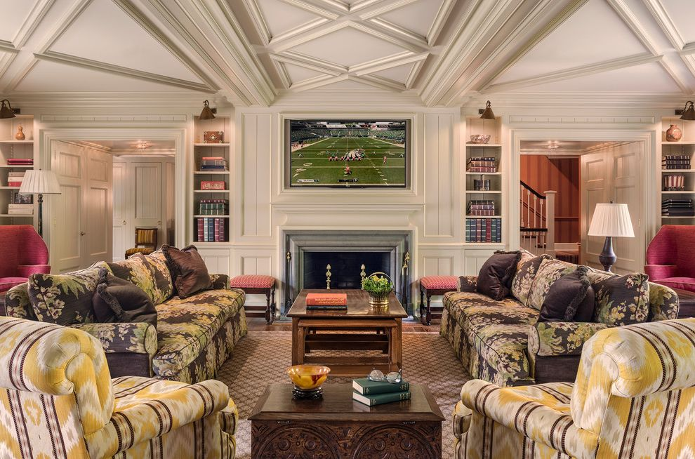 Craigslist Philadelphia Furniture with Traditional Family Room  and Built in Bookshelf Ceiling Design Classic Elegant Floral Sofa Historic Philadelphia Library Sconce Main Line Symmetrical Tv Room Yellow Ikat Armchair