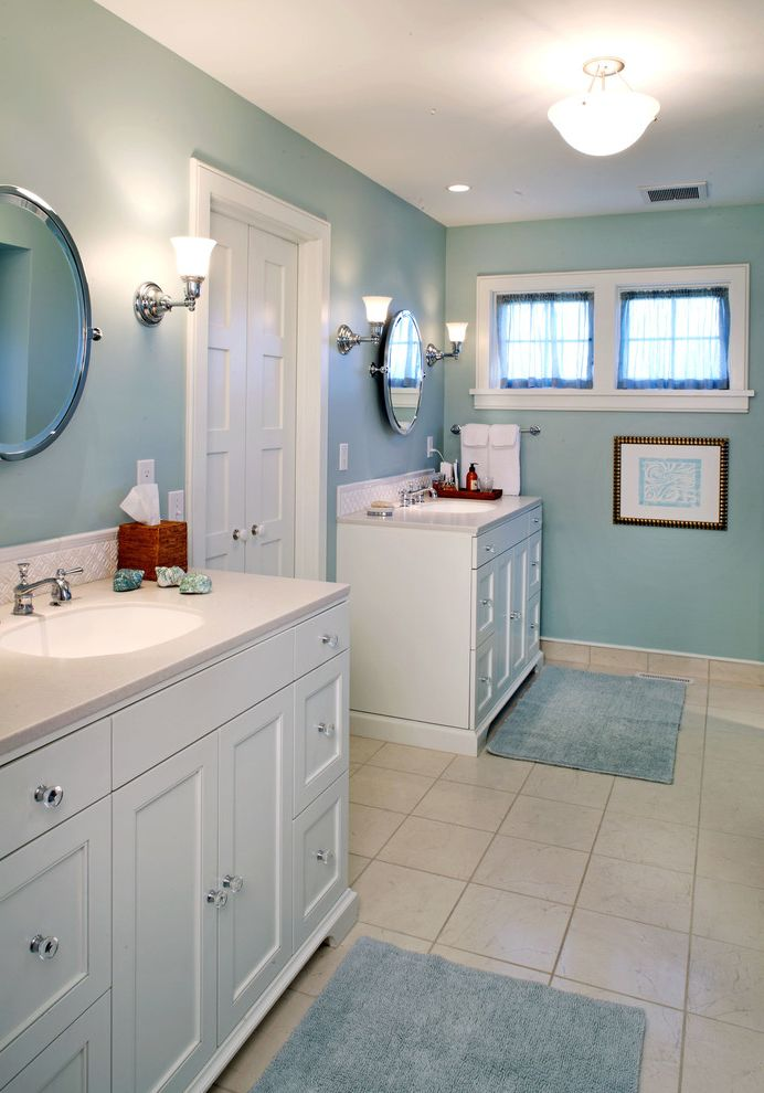 Cramers Kids   Traditional Bathroom Also Cabinetry Double Master Mirror Round Vanity White Window