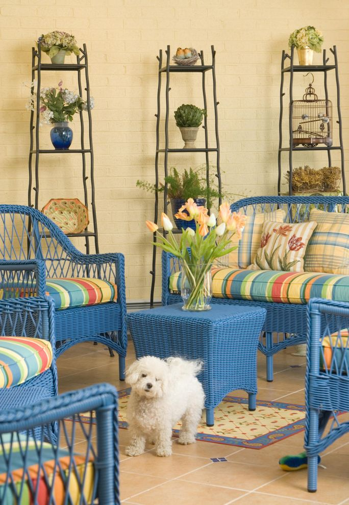 Crate and Barrel Furniture Coupon with Eclectic Patio Also Aqua Bird Cage Blue Wicker Bright Color Butter Yellow Cockapoo Orange Painted Brick Plant Stands Porch Red Stripes Tile Floor Tulips Vase Wicker Chairs Wicker Table Yellow