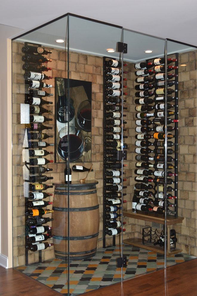 Crate and Barrel Two with Contemporary Wine Cellar  and Arabesque Tile Artwork End Grain Glass Door Glass Walls Recessed Lighting Reclaimed Tile Floor Wall Mounted Wine Rack White Oak Wine Barrel Wine Storage Wood Wall