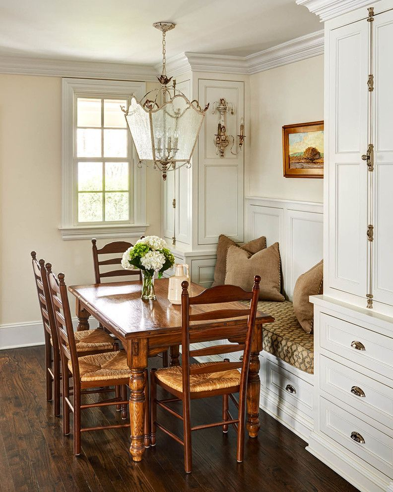 Cremone Bolt for Cabinets   Traditional Dining Room  and Breakfast Nook Built in Banquette Coach Lamp Pendant Light Cremone Bolt Crown Molding Ladder Back Dining Chairs Rectangular Kitchen Table Rush Seat Dining Chairs Small Dining Table