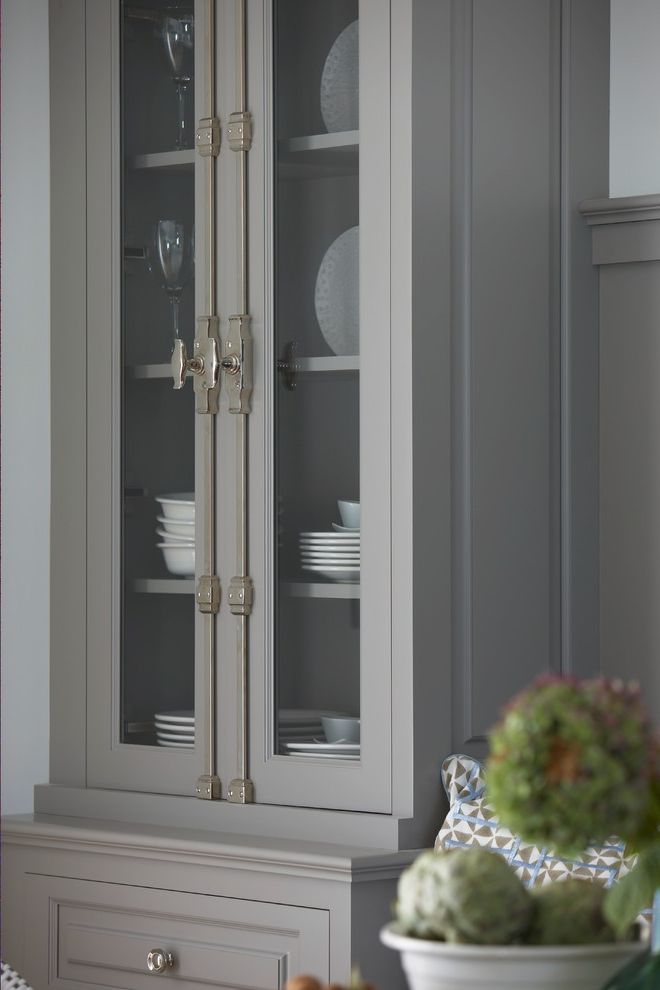 Cremone Bolt for Cabinets   Traditional Kitchen Also Bespoke China Cabinet China Hutch Cremone Cremone Bolts Flowers Gray Inset Frame Luxury Polished Chrome Polished Metal Polished Nickel Wainscoting White Bowl White Plates White Wall Wine Glass