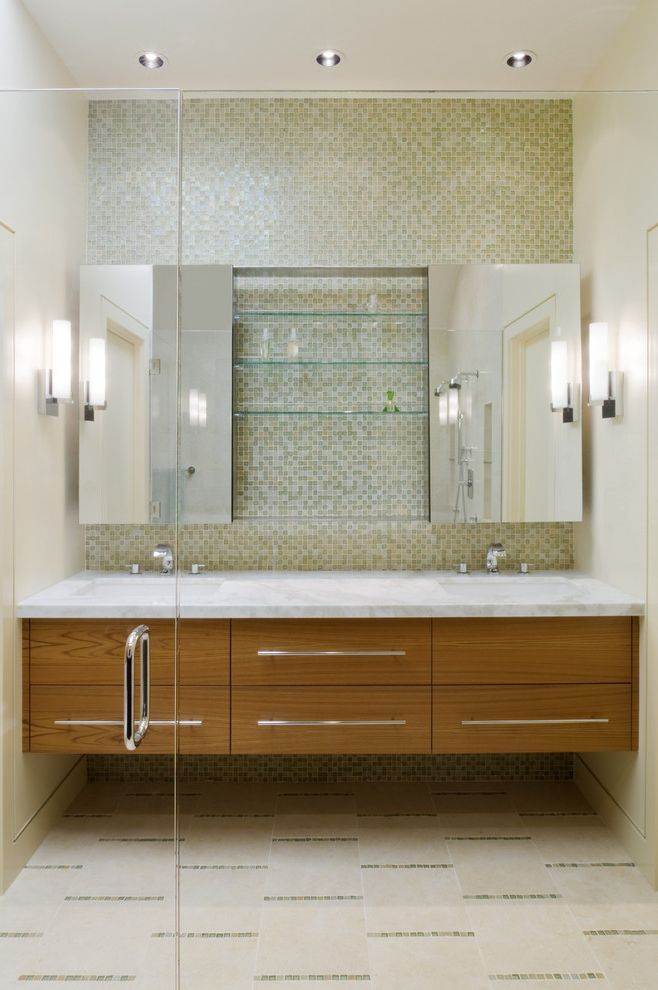 Cremone Bolt for Cabinets with Contemporary Bathroom  and Ceiling Lighting Double Sinks Double Vanity Floating Vanity Floor Tile Design Medicine Cabinets Recessed Lighting Sconce Tile Flooring Tile Wall Wall Lighting