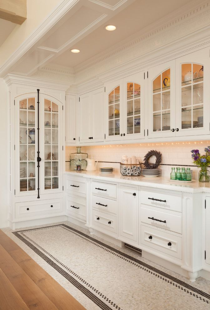 Cremone Bolt for Cabinets with Traditional Kitchen Also Arched Cabinets Black and White Butler Pantry Cornice Cremone Bolt Crown Molding Dentil Molding Mosaic Floor Tile White White Cabinet Wood Work