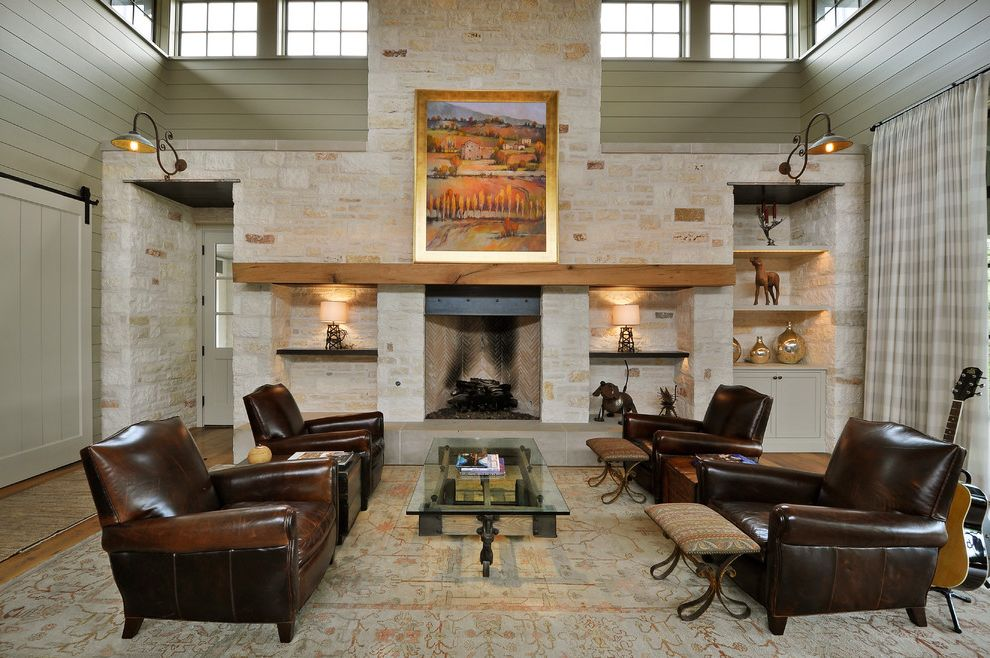 Crestwood Theaters with Mediterranean Living Room Also Barn Lights Clerestory Windows Glass Table Gold Frame Leather Chairs Stone