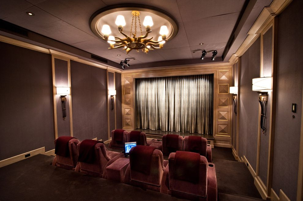 Crown Point Theater   Traditional Home Theater  and Burgundy Carpet Chandelier Dramatic Gold Hollywood Glamor Home Theater Luxury Movie Movie Room Plum Screening Room Theater Theater Chairs Velvet