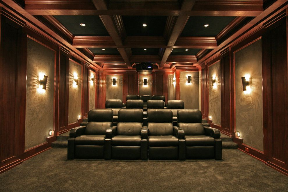 Crown Point Theater with Traditional Home Theater Also Ceiling Lighting Coffered Ceiling Home Theater Projector Recessed Lighting Sconce Screening Room Stadium Seating Step Lighting Wall Lighting Wood Paneling Wood Trim