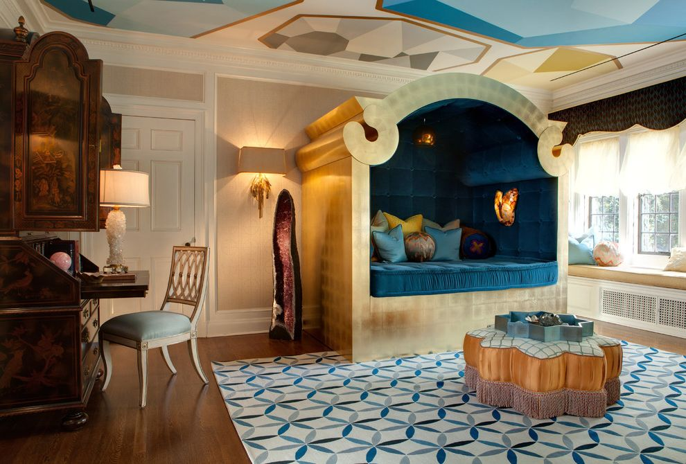 Crystal Cove Restaurant with Eclectic Bedroom Also Area Rug Bolster Carpet Ceiling Treatment Chair Crown Molding Cushions Desk Gilded Hardwood Flooring Jewel Tones Mixed Pattern Ottoman Sconce Tray Tufted Bed Window Seat Window Treatment