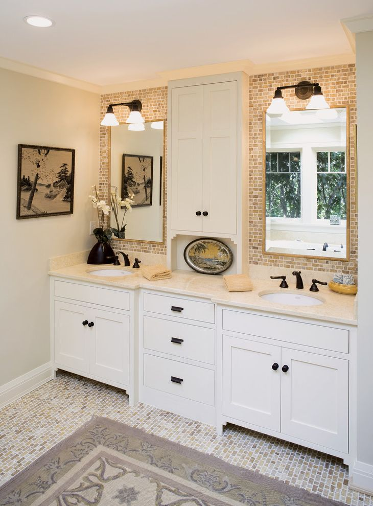 Ct Lighting Center   Traditional Bathroom  and Beige Countertop Contemporary Design Double Sink Vanity Mosaic Tile Backsplash Mosaic Tile Floor Open Concept Round Sinks Traditional Finishes Two Sinks
