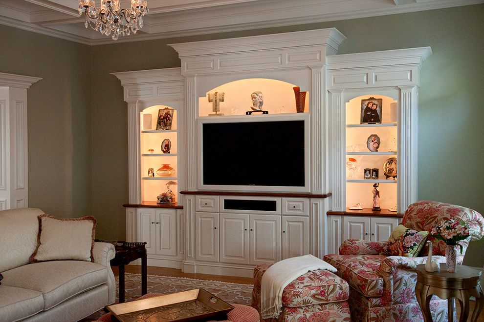 Ct Lighting Center   Traditional Living Room  and Built in Entertainment Center Formal Green White