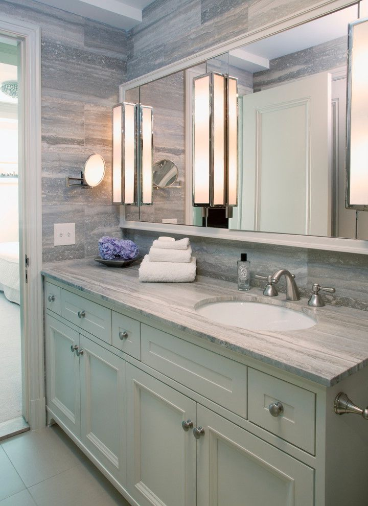 Ct Lighting Center   Transitional Bathroom  and Mirror Mirror Cabinet Recessed Panel Cabinets Tile Walls Vein Cut Counters Wall Sconces White Casing White Painted Wood