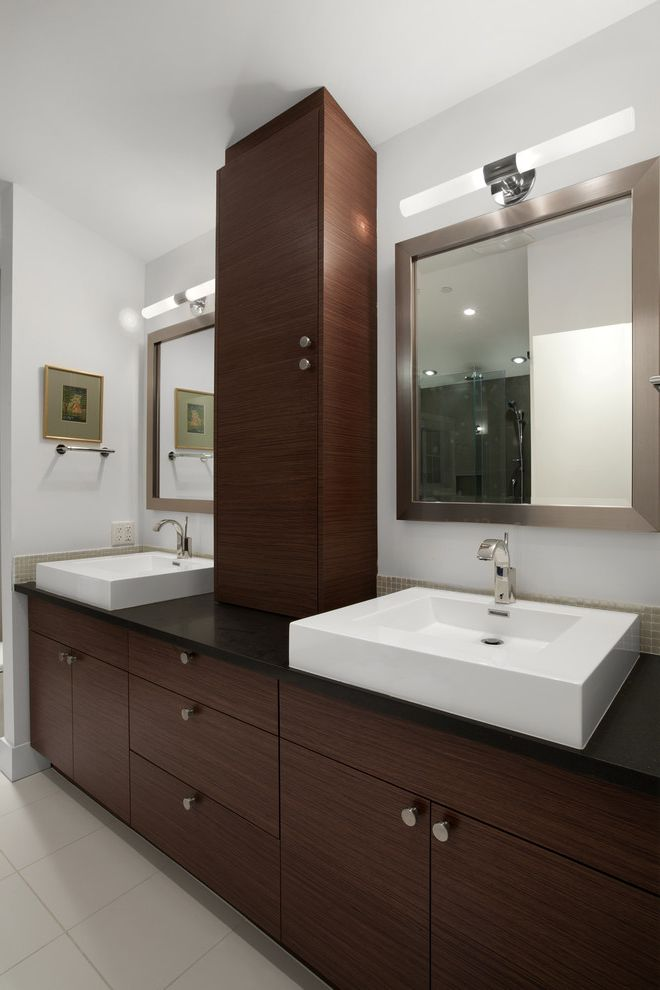 Ct Lighting Center with Contemporary Bathroom Also Bathroom Hardware Bathroom Lighting Bathroom Mirrors Bathroom Storage Dark Wood Cabinets Double Sinks Double Vanity Neutral Colors Sconce Square Sinks Vessel Sinks Wall Lighting