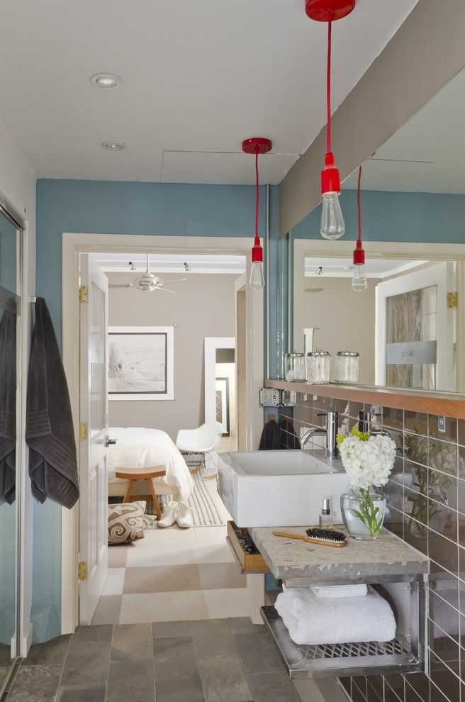 Ct Lighting Center with Modern Bathroom  and Accent Wall Bedroom Ceiling Fan Chair Eclectic Farmhouse Sink Modern Pendant Light Red Pendant Light Square Sink Stone Stone Countertop Tiled Floor Tiled Wall