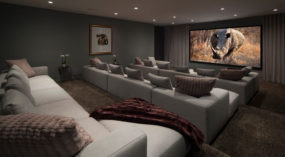 Culver City Theater   Contemporary Home Theater  and Brown Carpet Gray Curtains Gray Sofa Media Room Recessed Lighting Tiered Seating
