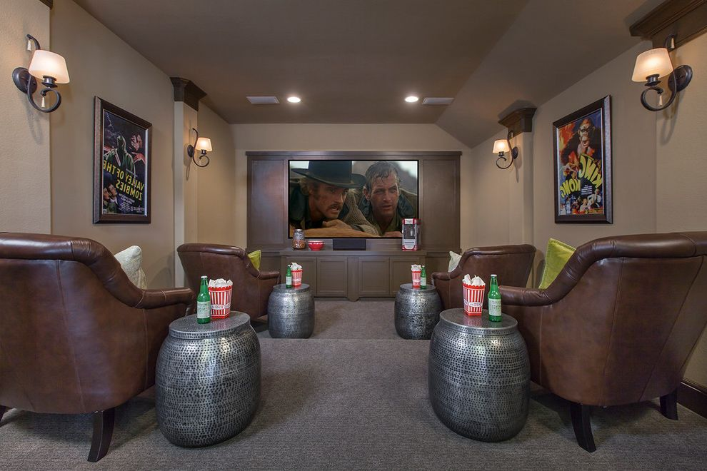 Culver City Theater with Traditional Home Theater  and Hidden Lakes Houston League City Leather Chair New Homes Recessed Lighting Silver Accent Table Taupe Walls Wall Sconce with Shade