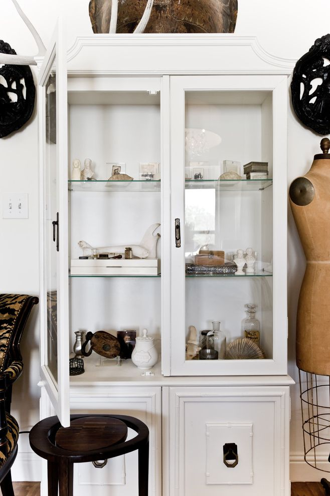 Curio Cabinets Cheap   Eclectic Bedroom Also Armoire Black and White Collection Dining Hutch Display Cabinet Dress Form Glass Front Cabinets Glass Shelves Neutral Colors Wardrobe