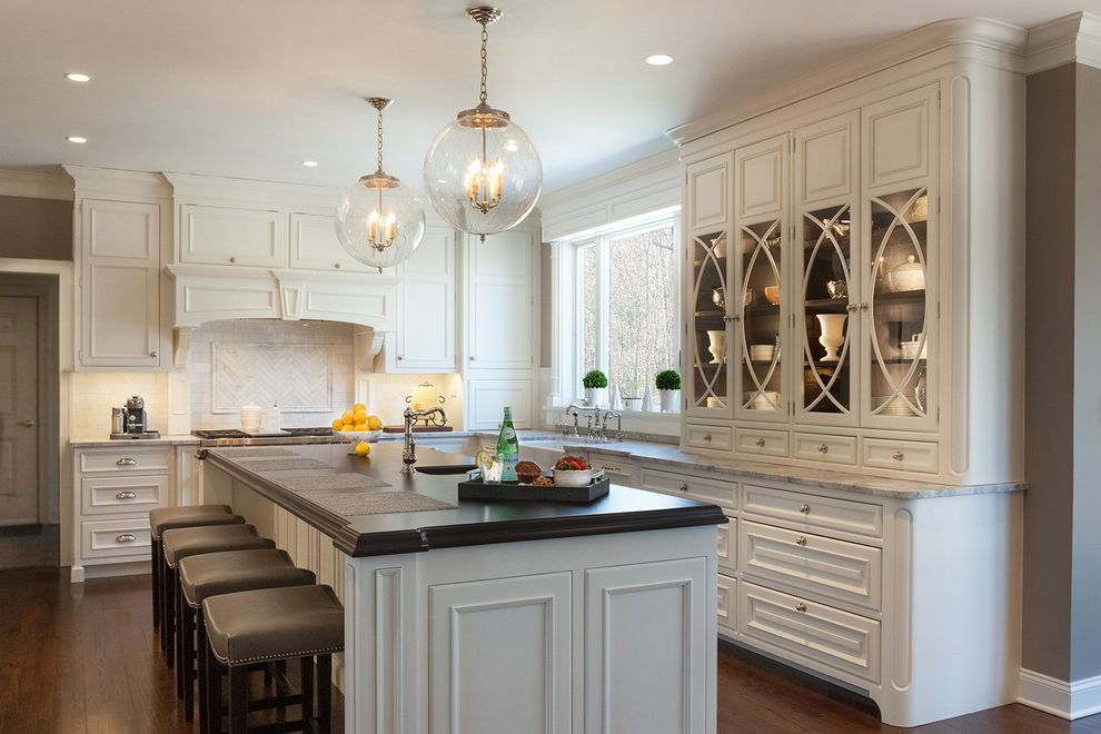 Curio Cabinets Cheap   Traditional Kitchen  and Backless Bar Stools Custom Cabinets Globe Pendant Lights Hardware Kitchen Appliances Kitchen Backsplash Kitchen Island Kitchen Island Lighting Transitional Kitchen White Countertop