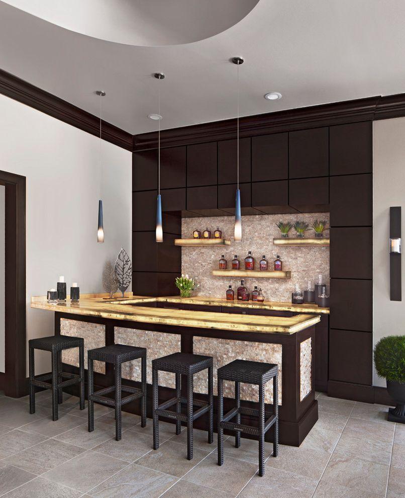 Custom Bars for Homes   Contemporary Home Bar  and Bar Stools Dark Wood Panels Drinks Cabinet Lights Over Bar Open Shelves Pendant Lights