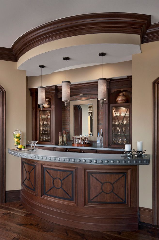 Custom Bars for Homes   Traditional Home Bar Also Curved Bar Drinks Cabinet Lights Over Bar Molding Pendant Lights Rivets Wall Mirror