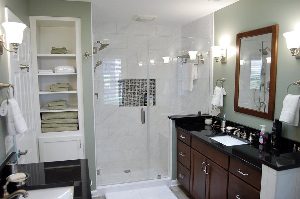Daltile Florentine   Transitional Bathroom Also Black Granite Vanity Top Daltile Florentine Dark Stained Cabinets Linen Shelf Storage Open Storage Tiled Walk in Shower White Linen Tower White Marble Tile