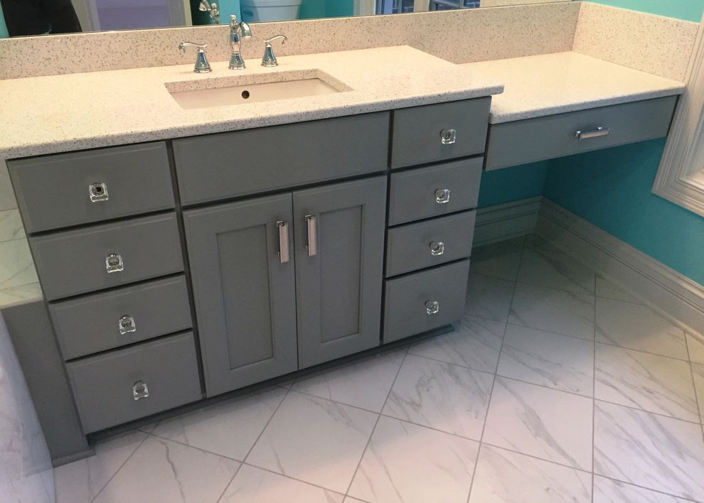 Daltile Florentine with Contemporary Bathroom  and Decora Cabinets Gray Vanity Cabinets Grey Vanity Cabinets White Quartz Vanity Top