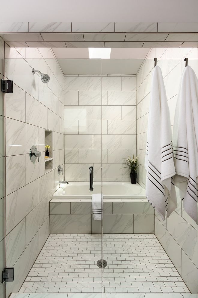 Daltile Florentine with Transitional Bathroom Also Light Open Recessed Shower Niche Towel Hooks Tub in Shower